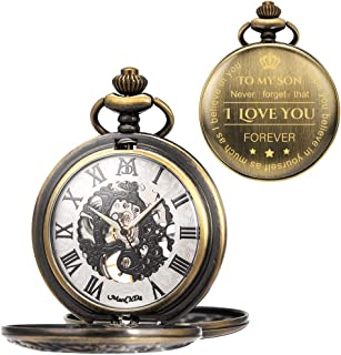 ManChDa Mechanical to My Son Double Cover Roman Numerals Dial Skeleton Personalized Engraved Pocket Watches with Gift Box and Chain Customized Customization Custom Engraving Gift for Son