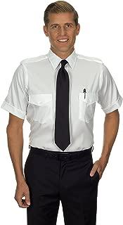 Men's 100% Cotton Non-Iron Aviator Pilot Shirt - Short Sleeve, White