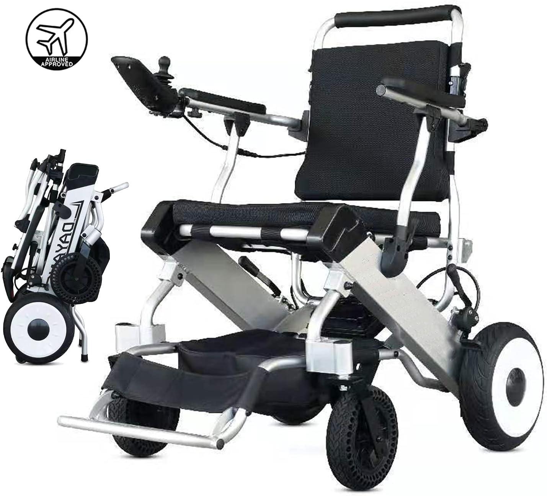 Exclusiva silla de ruedas eléctrica motorizada, plegable y liviana, todo terreno, dos motores de 250W, dos baterías, silla de ruedas eléctrica portátil Silla de viaje en autobús de 25 millas