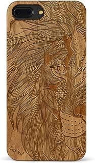 iPhone 8 Plus /7 Plus Case CaseYard Hybrid Wood Case for Apple iPhone 8 Plus & iPhone 7 Plus Made in California(Reg-Protective Cherry) Tribal Lion