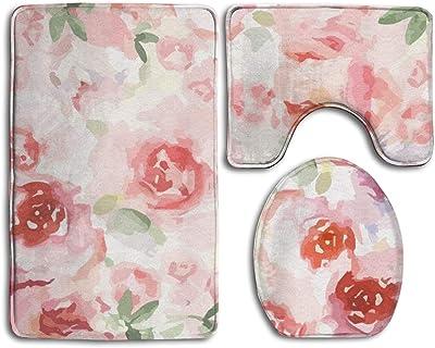 Pink Floral Bath Rug Set 3 Piece Non Slip Bathroom Mats Toilet Lid Cover U Shaped Contour Rug Carpet Soft Bathroom Accessories Home Kitchen