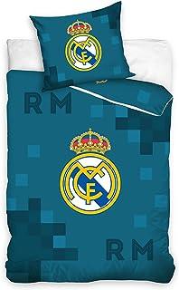 DHestia - Real Madrid Funda Nórdica + Funda Cojín Cama 90 100% Algodón Fútbol RM181018