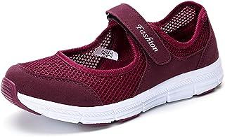 Kauson Nouveau Femme Mailles Baskets Ballerines Loafers Chaussures Mailles Baskets Mode Respirantes de Plein Air Fitness S...