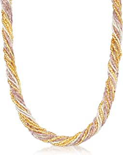 Italian Multicolored Murano Glass Bead Necklace With 18kt Yellow Gold Over Sterling