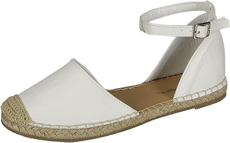 Breckelles Women's Emerson-04 Comfort Ankle Strap Espadrille D'Orsay Flat Sandal