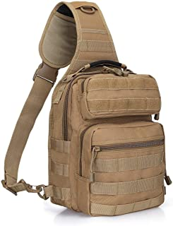Outdoor Tactical Range EDC Molle Sling Backpack, Military Sport Daypack Shoulder One Strap Small Backpack for Camping, Hiking, Trekking, Molle Chest Pack (Color : Khaki)