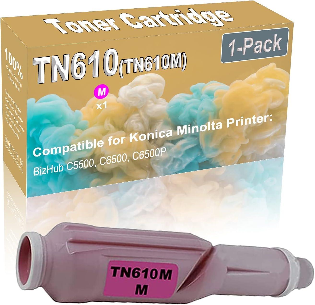 1-Pack (Magenta) Compatible BizHub C5500 C6500 Laser Printer Toner Cartridge (High Capacity) Replacement for Konica Minolta TN610 (TN610M) Printer Toner Cartridge