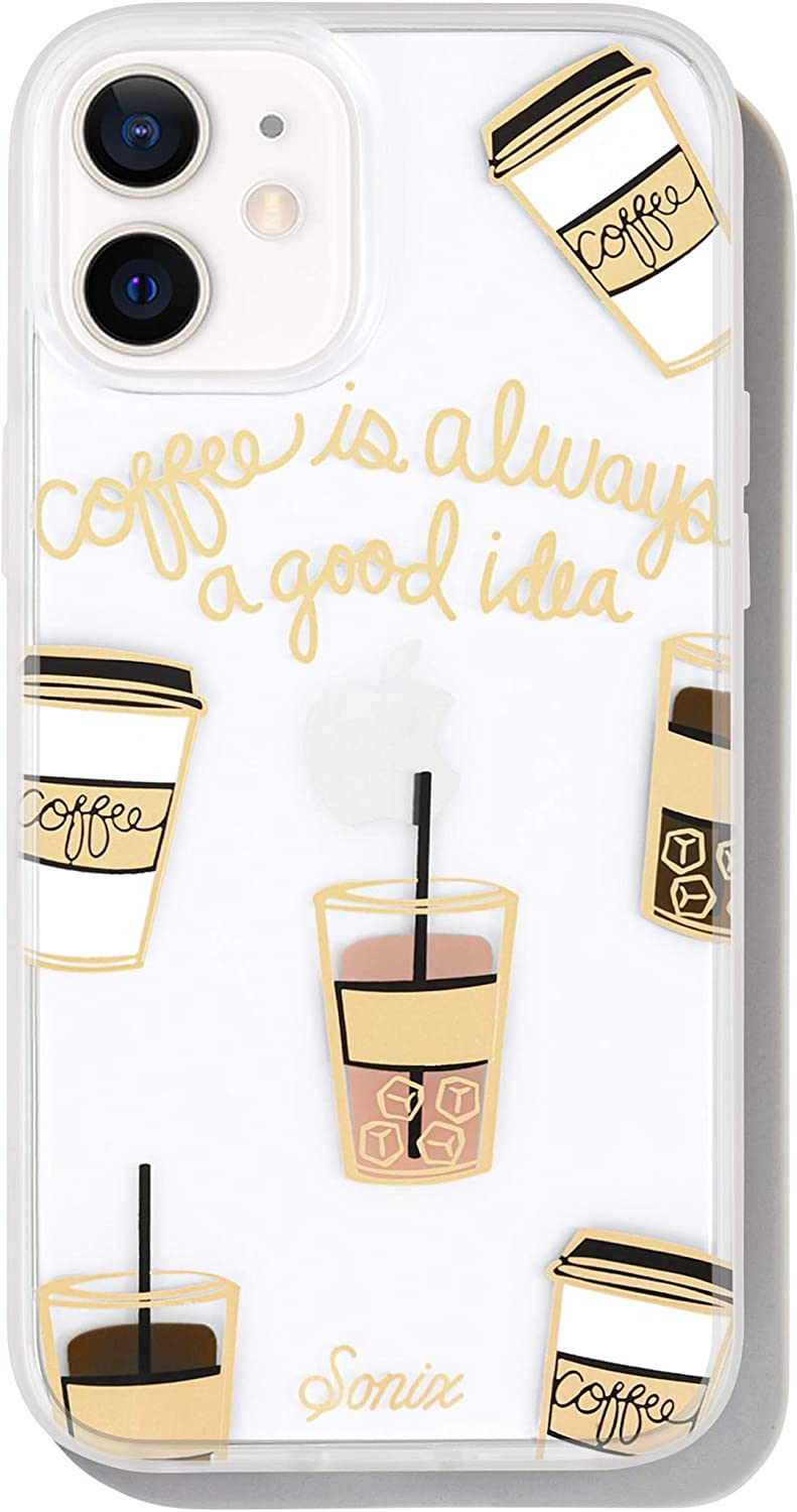 Sonix Coffee Case for iPhone 12mini [10ft Drop Tested] Women's Protective Cute Coffee Cup Clear Cover for Apple iPhone 12 Mini
