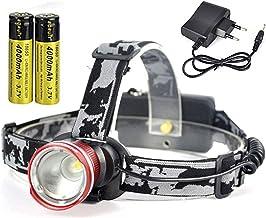 Hoofd Torch T6 LED Koplamp 3000LM 3-Mode Zoom Krachtige Koplamp Oplaadbare 18650 Waterdichte Hoofd Torch Camping Jacht (Kl...