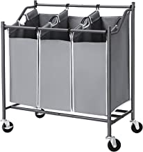 SONGMICS Cart Sorter, Rolling Laundry Basket Hamper, with 3 Removable Bags, Casters and Brakes, Gray URLS70GS