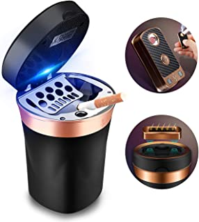 SOLARXIA Car Ashtray, Auto Ashtray Cigar Electronic Cigarette Lighter Detachable Solar Powered/USB Rechargeable with Lid Blue LED Light for Most Car Cup Holder Home Office (Black)