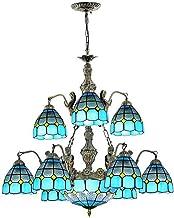 Tiffany Style Retro Chandelier Multi-Light Blue Mediterranean Pendant Lamp Handmade Stained Glass Hanging Lighting Fixture...