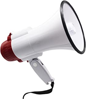 BEMLDY Portable Megaphone Bullhorn with Built-in Siren/Alarm-Music-Adjustable Volume -Strap Powerful and Lightweight