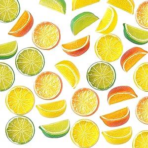 30Pcs Artificial Lemon Slices Block, SPWOLFRT Summer Decor, 15Pcs Simulation Lemon Slice, 15Pcs Fake Lemon Block-Double Side Decorative Fake Fruit for Party Kitchen Wedding Decor Supply (Multicolor A)