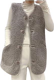 Women Fuzzy Sherpa Vest Warm Fleece Coat Long Sleeveless...