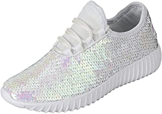 Forever Link Women's Remy-18 Glitter Sneakers | Fashion Sneakers | Sparkly Shoes for Women