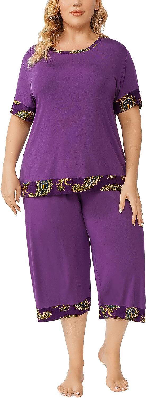 ZERDOCEAN Women's Plus Size Sleepwear Pajama Set Short Sleeve Tops with Capri Pants Nightwear Two-piece Pj Lounge Sets