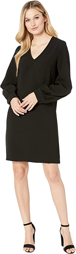 Blouson Sleeve Crepe Dress