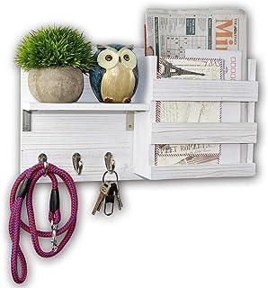 Spiretro Wall Mount Entryway Mail Envelope Organizer, Key Holder Hooks, Leash Hanging, Coat Rack, Letter & Newspaper Stora...