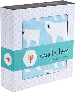 Cozyholy Fancy Design 100% Cotton Baby Muslin Swaddle Blankets Swaddle Wrap Receiving Blanket, Stroller Cover Baby Bath Towels (Polar Bear, 47x47 inch)