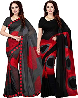 Ishin Combo Of 2 Poly Georgette Multicolor Printed Women Saree