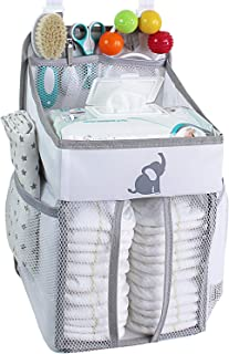 Hanging Diaper Caddy – Crib Diaper Organizer – Diaper Stacker for Crib, Playard or Wall – Newborn Boy and Girl Diaper Hold...