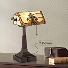 "Fleura Traditional Piano Banker Desk Table Lamp 17"" High with AC Power Outlet Bronze Antique Tiffany Style Floral Art Glas..."