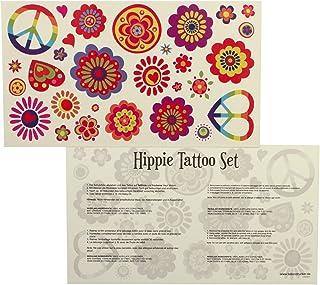 Hippie Tattoo Kaart - 29 kleurrijke Flower Power Peace huid tatoeages - carnaval feest
