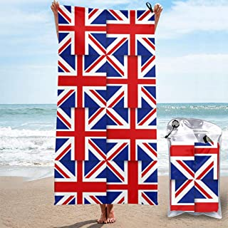 Beach Towels UK British Flag Hand Towel Sheets Bath Linen Fast Dry Blanket Swimming Travel Oversized Large Pool Swimsuits Covers Fashion Washcloths Foot Yoga Mat,27.5