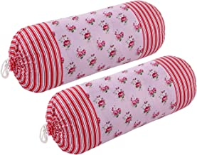 HSR Collection Cotton 2 Piece Plain Bolster Cover Set - 16 X 32 inches, Pink