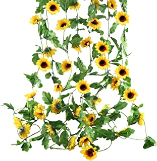 HO2NLE 4Pcs 32 Feet Artificial Sunflowers Hanging Vine Silk Fake Flowers Garlands Home Office Garden Outdoor Wall Greenery Cover Jungle Party Decoration