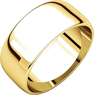 Men's and Women's 18k Yellow Gold, 8mm Wide, Plain Wedding Band
