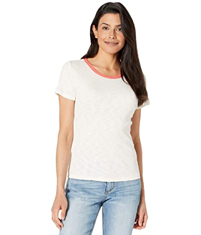Lilla P Short Sleeve Crew Neck Tee in Ribbed Flame Modal with Contrast Neck