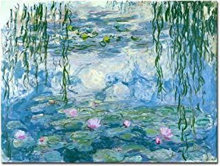 Wieco Art Water Lilies by Claude Monet Oil Paintings Flowers Reproduction Extra Large Modern Gallery Wrapped Giclee Canvas Prints Artwork Landscape Pictures on Canvas Wall Art for Home Decorations