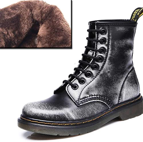 ZHRUI Stiefel de Tobillo para damen schuhe de Cordones de Cuero para damen (Farbe   grau Winter, tamaño   6=39 EU)
