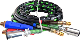 Road King Truck Parts 3-IN-1 Wrap 7-Way ABS Electric Cord Cable and Air Line Hose Assembly 12' Working Length
