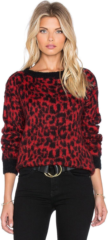 Essentiel Antwerp Kyafla Animal Print Sweater in Red Size Med