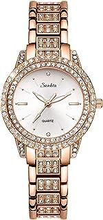 Women Watches with Rose Gold Diamond Stainless Steel Strap, Waterproof Quartz Watches Fashion Dress Elegant Business Wrist Watch for Ladies Girls