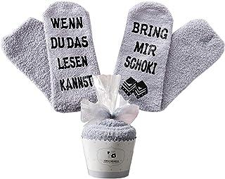 Top-Geschenk24.de Geschenk für Frauen, WENN DU DAS LESEN KANNST BRING MIR WEIN / KAFFEE / SCHOKI / BUCH SOCKEN, witziges Geburtstagsgeschenk für Freundin Schwester Mama
