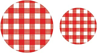 100 Count Red Gingham Red & White Checkered Paper Plates | 50~9