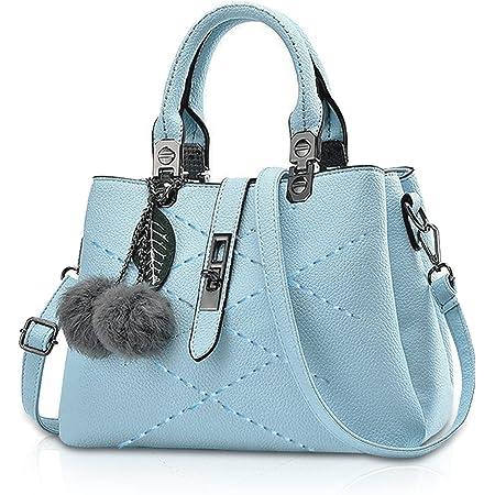 NICOLE & DORIS 2021 Neue Frauen Tasche Damen Leder Handtasche Mode Umhängetasche Mit Pompon abnehmbarem Schultergurt Handtasche Azurblau
