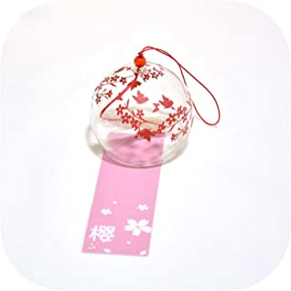 winkwink decorative-bells Creative Japanese Style Wind Chime Glass Hanging Craft Wind Bell Home Decor Sakura Cherry Blossom Pattern Multiple Style Bedroom,10