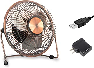 JPOWER 6 Inch USB Desk Fan Perfect Personal Cooling Fan for Home Office Table AC Adapter Included