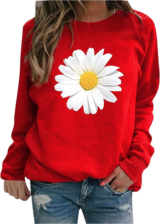 Vickyleb Women Long Sleeve Tops,Watercolor Print Crewneck Sweatshirts Casual Long Sleeve Sweater Lightweight Blouses