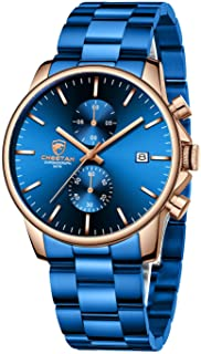 Fashion Business Mens Watches with Stainless Steel Waterproof Chronograph Quartz Watch for Men,...