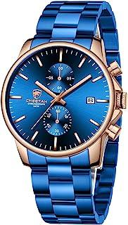 Golden Hour Fashion Business Relojes para hombre con cronógrafo, a prueba de agua, de acero inoxidable, reloj de cuarzo con fecha automática