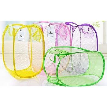 Kuber Industries Nylon 4 Piece Mesh Laundry Basket,30Ltr (Multi)-CTKTC21497