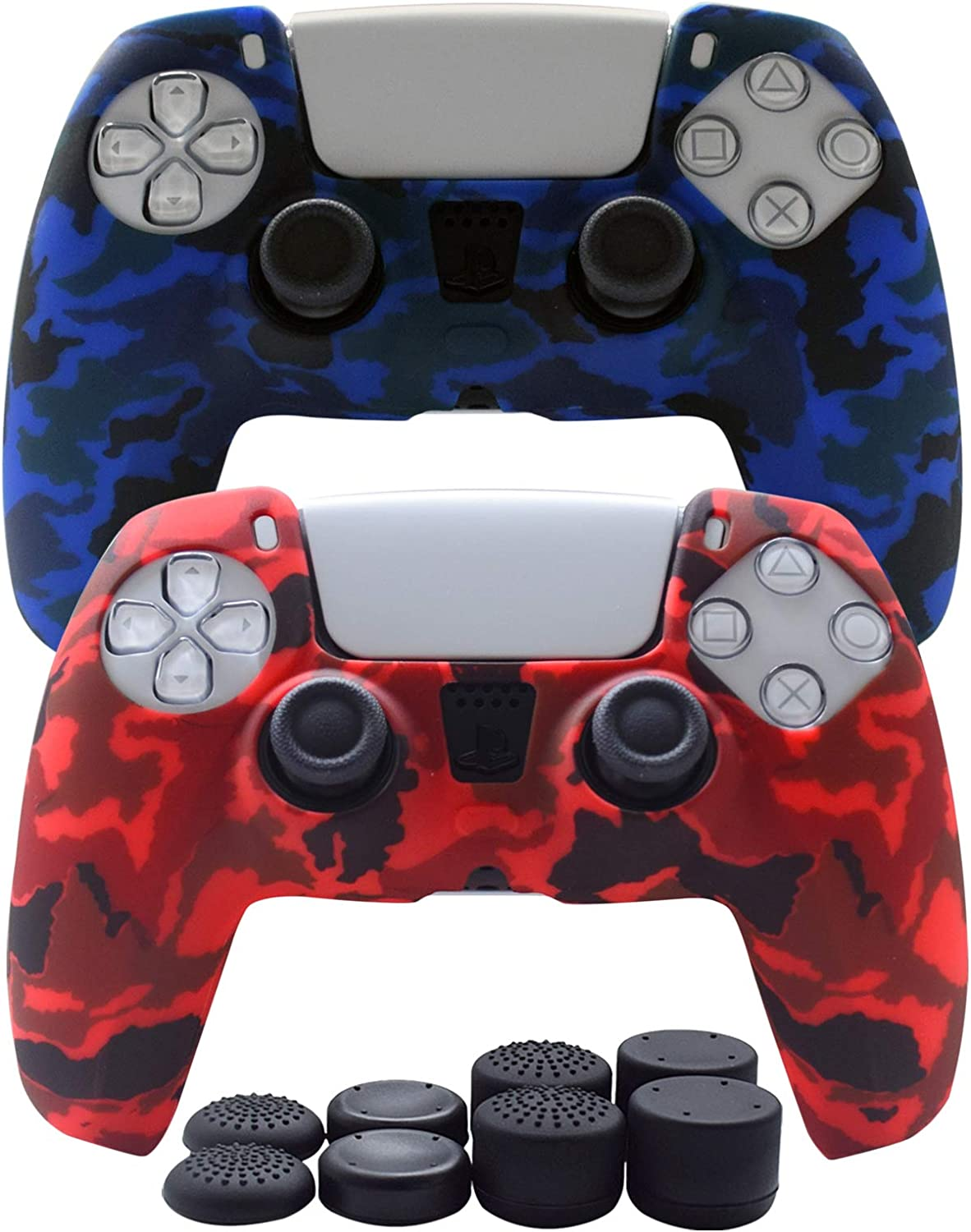 PS5 Controller Skin-Hikfly Silicone Cover for PS5 DualSense Controller Grips,Non-Slip Cover for Playstation 5 Controller- 2 x Skin with 8 x Thumb Grip Caps(Blue,Red)