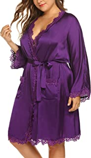 IN'VOLAND Women's Plus Size Lace Pockets Kimono Robe Sleepwear with Oblique V-Neck