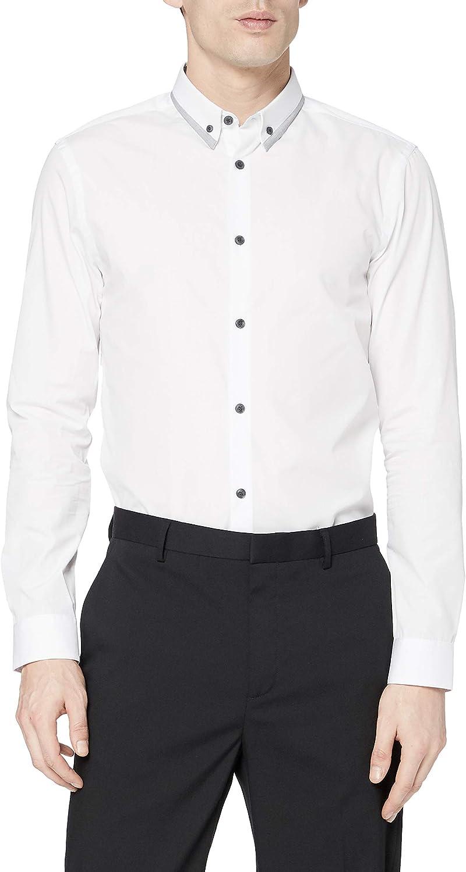 New Look Dobby Trim Double Collar Camisa, Blanco, M para ...